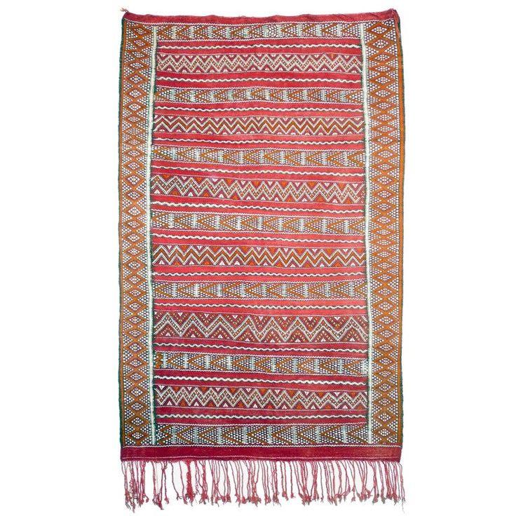 Vintage Zemmour North African Berber Kilim Carpet