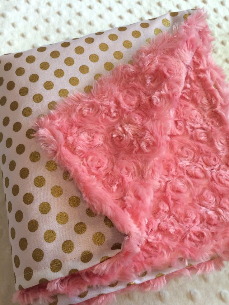 Gold dot baby blanket, coral minky, gold nursery, girl baby shower gift, coral nursery, robert kaufman spot on, modern, gift, trendy gift by DwellDarling on Etsy https://www.etsy.com/listing/241005495/gold-dot-baby-blanket-coral-minky-gold
