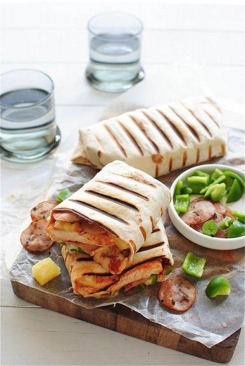 Grilled Hawaiian Pizza Burritos Recipe: http://bevcooks.com/2013/09/grilled-hawaiian-pizza-burritos/