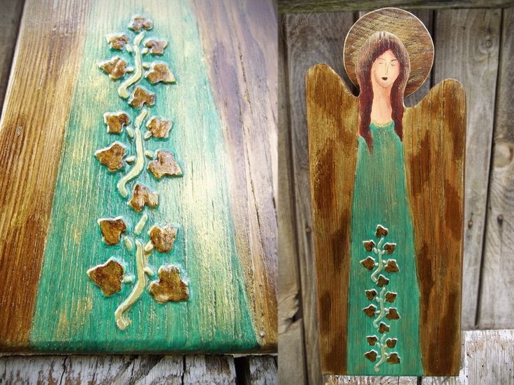 Green angel handpainted on wood with poison ivy decor
