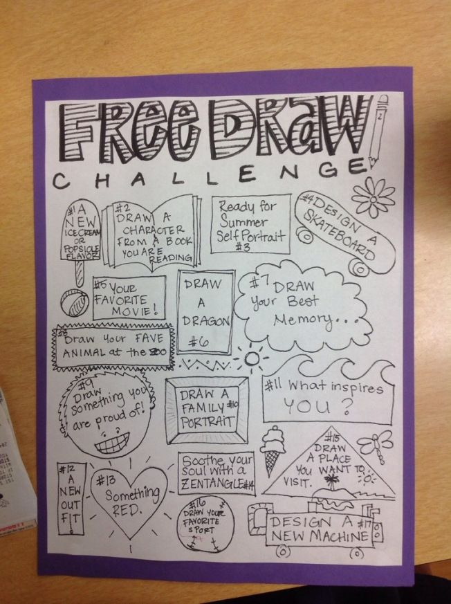 monthly free draw challenge activities -- or make into a journal to complete for each child by end of year?