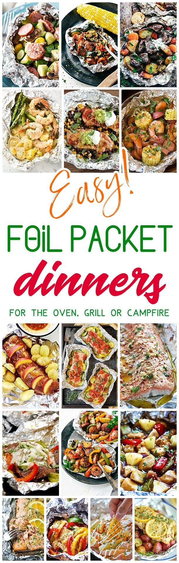 Easy Tin Foil Packets Dinners Recipes - Easy meal prep and easy, quick clean up! So many delicious chicken, beef, salmon, pork, shrimp and chicken tin foil packet dinners you and your family can enjoy making in the oven all year long, throwing on the backyard grill or tossing in the campfire coals this summer! Dreaming in DIY  #tinfoilsuppers #tinfoildinners #foilpacketmeals #foilpackrecipes #mealprep