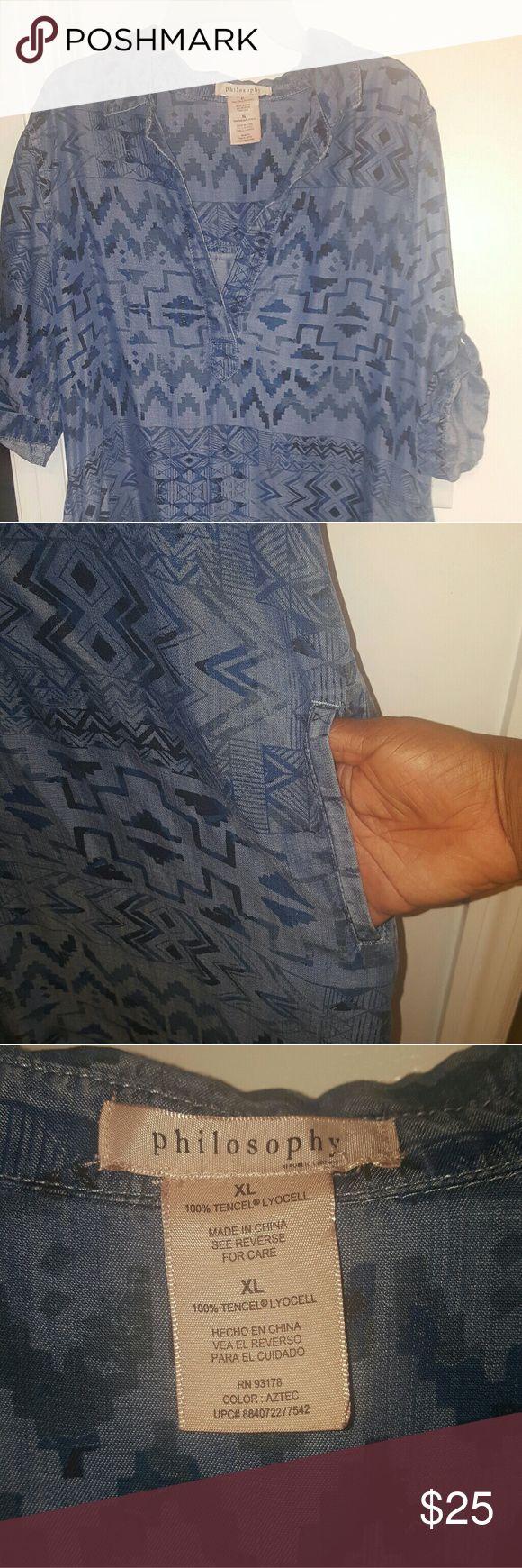 Women's denim shirt dress Tribal print, pockets, hi/low Dresses