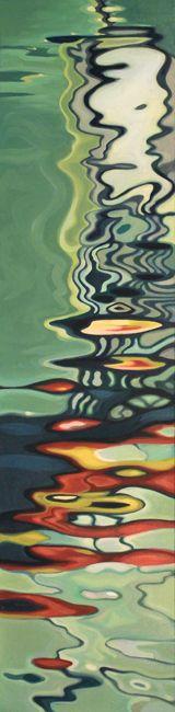 Water Slick. 12x48, oil on canvas, 2010  - Amelia Alcock-White