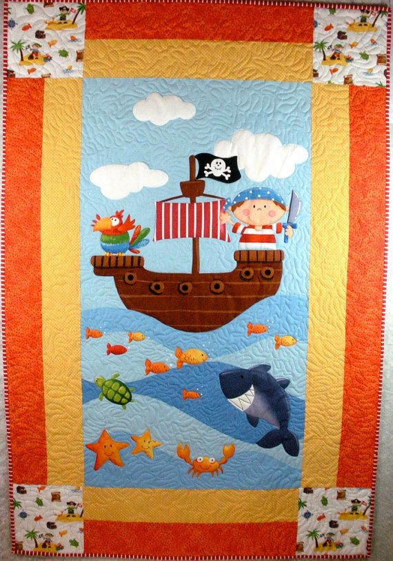 Ahoy Matie Pirate Quilt by onebeelane on Etsy, $115.00