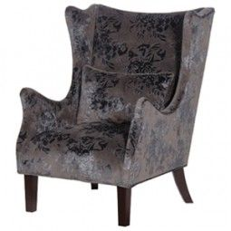 Grey Velvet Brocade Chair