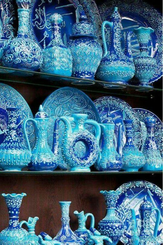 Turkish blue glazed pottery Arasta bazaar
