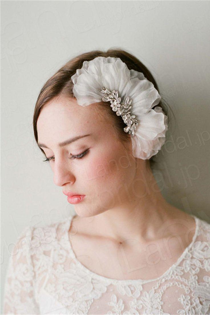 髪飾り アクセサリー オーガンジー ラインストーン ウェデイング小物 コサージュ 花嫁 SAH003 価格 ¥5,400