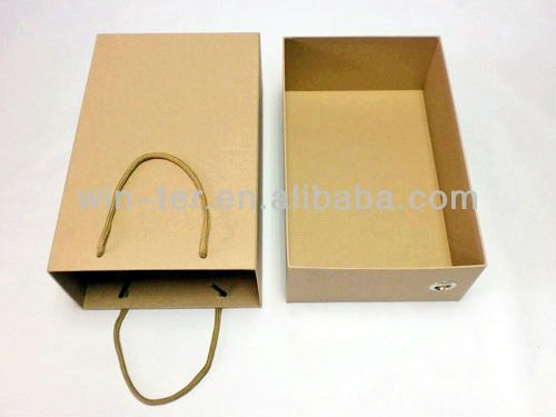 Brown kraft paper shoe box with drawer WT-PBX-462