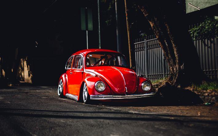 Download imagens Volkswagen Beetle, 4k, ajuste, low rider, Fusca vermelho, VW, Volkswagen
