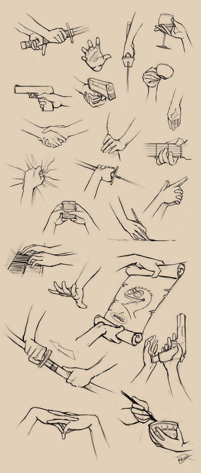 Como desenhar mãos segurando um monte de coisas.
