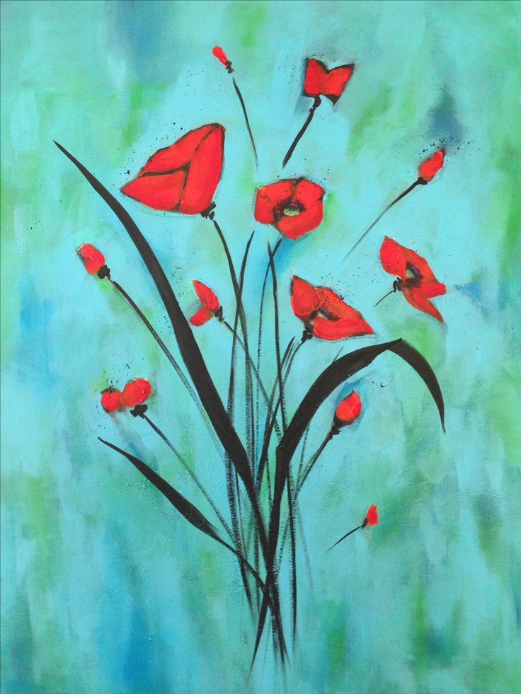 Poppies on Blue Abstract Tracy Davies Wired And Hung