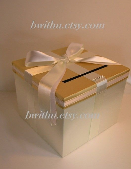 wedding card box gold and ivory gift card box money box holder customize your color