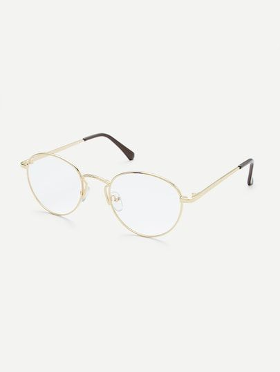 40a1ac65e8e Gold Frame Clear Lens Retro Glasses -SheIn(Sheinside)