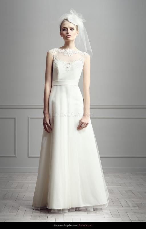 Simple A Line Bateau Lace Floor Length Tulle Wedding Dresses