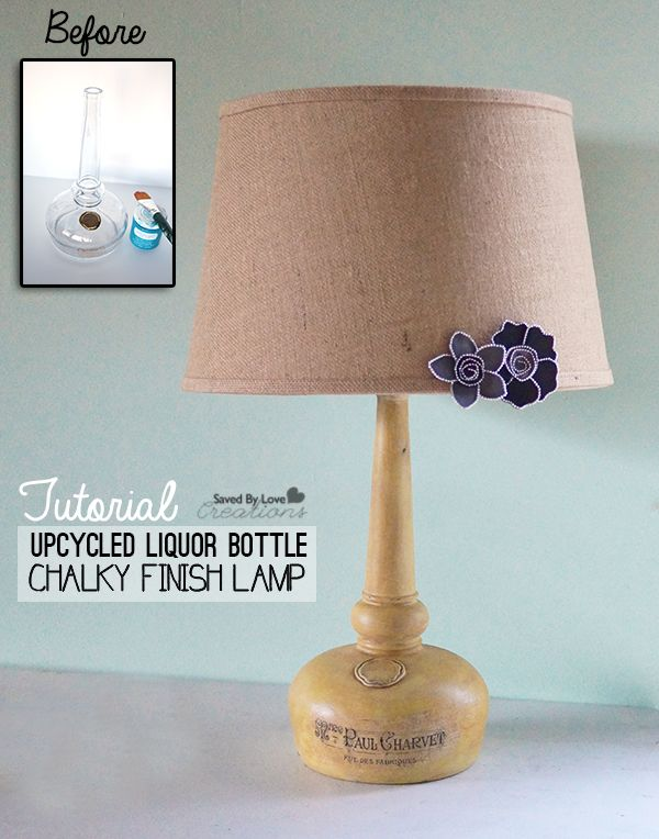 How to make an amazing french typography lamp from a recycled glass bottle distressed with