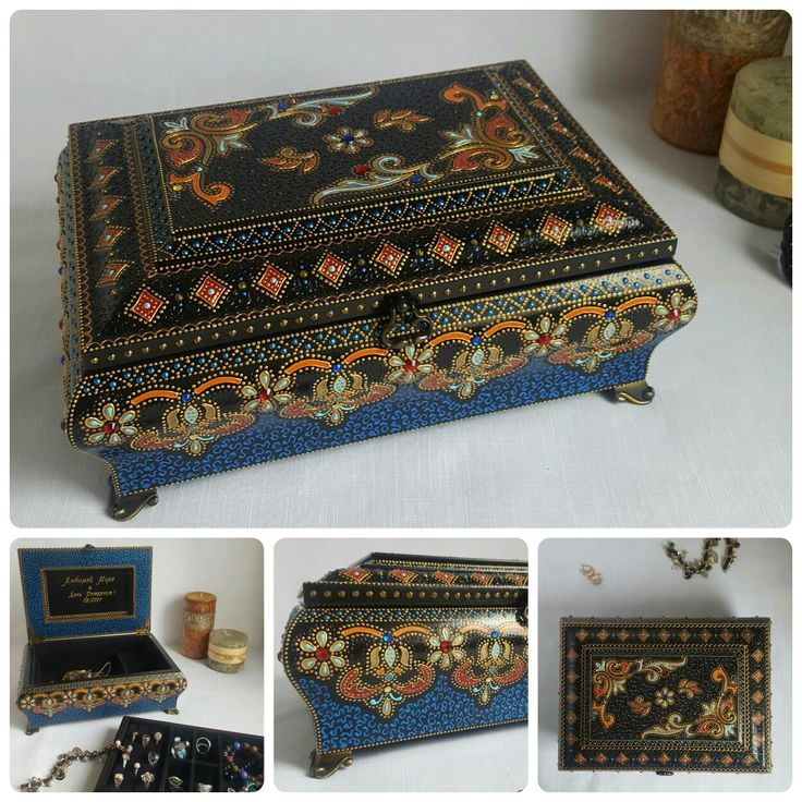 Musical 2-levels jewelry box was made to order for my regular customer. #jewelrybox #interiordecor #styleyourhome #handmade #handpainted #decor #ручнаяроспись #ручная_работа #шкатулка