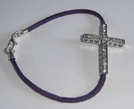 Rhinestone  Cross Purple Friendship  Bracelet by WearMyJewellery, £5.00