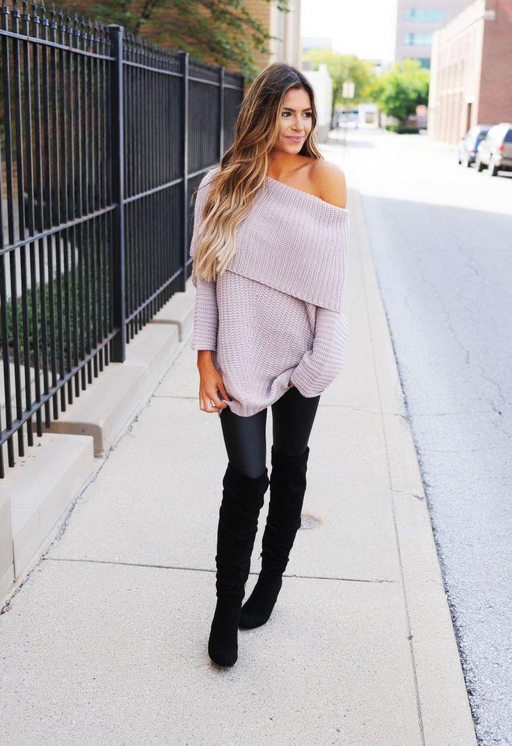 Mauve Fold Over Sweater - Dottie Couture Boutique
