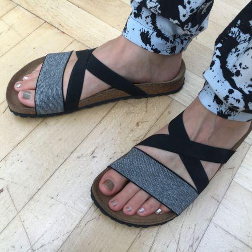 Birkenstock-Papillio-Damen-Schuhe-Gr-40-schwarz-silber-Sandalen