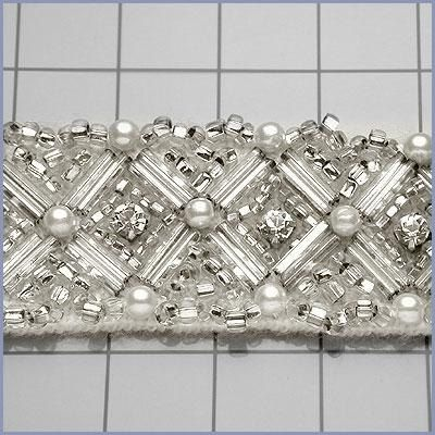 6 YARDS of Silver Beaded Crystal and Pearl Trim for Bridal and Wedding Projects. $174.98, via Etsy.