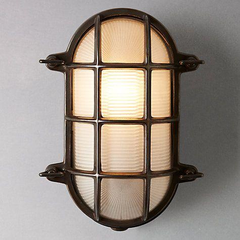 Buy Davey Lighting Bulkhead Weathered Ceiling Light, Brass Online at johnlewis.com £155