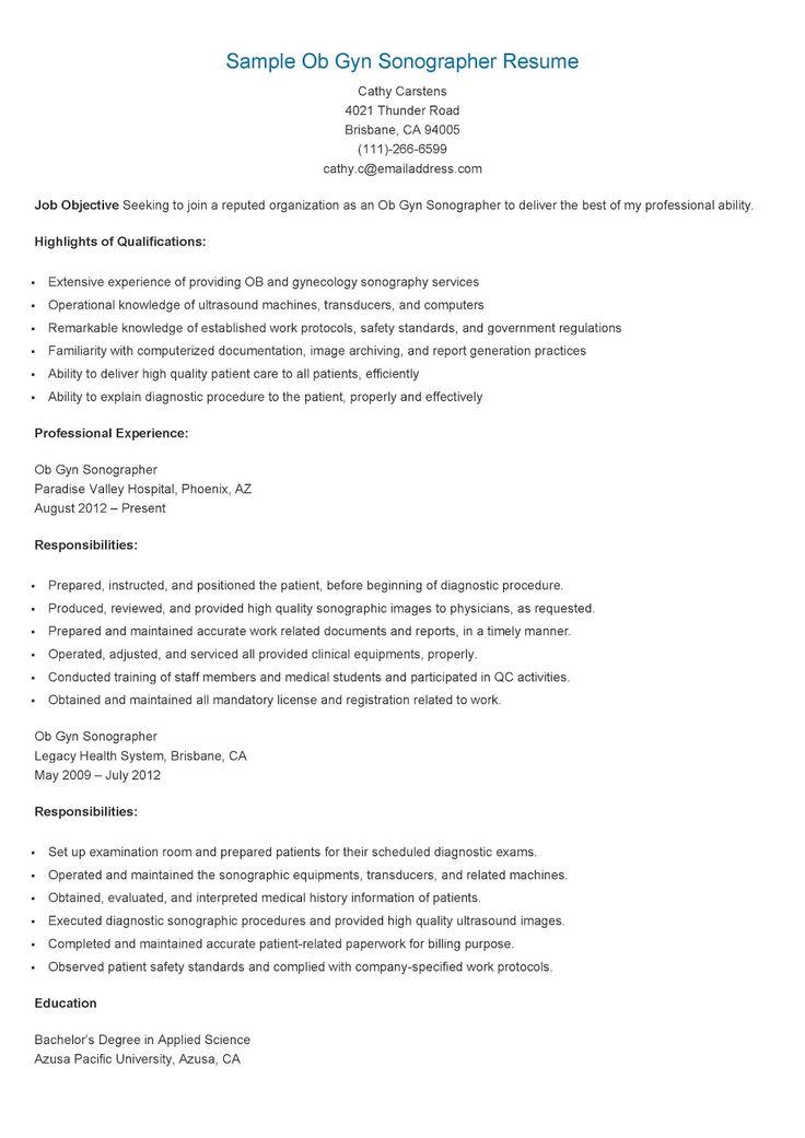 Sample Ob Gyn Sonographer Resume