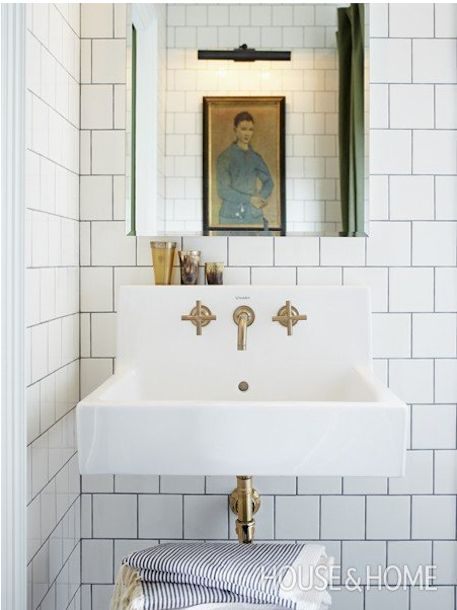 unlacquered brass bathroom faucet Kohler Purist http://mysoulfulhome.com