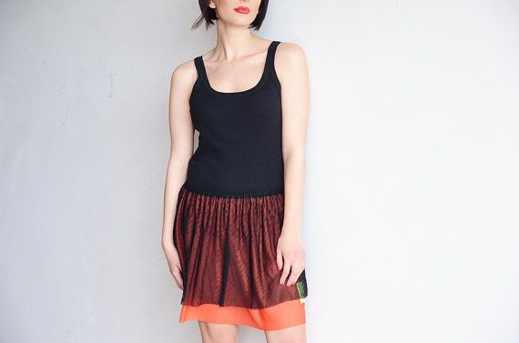 Christian Lacroix mini skirt in orange and black by RoaringRetro, $40.00