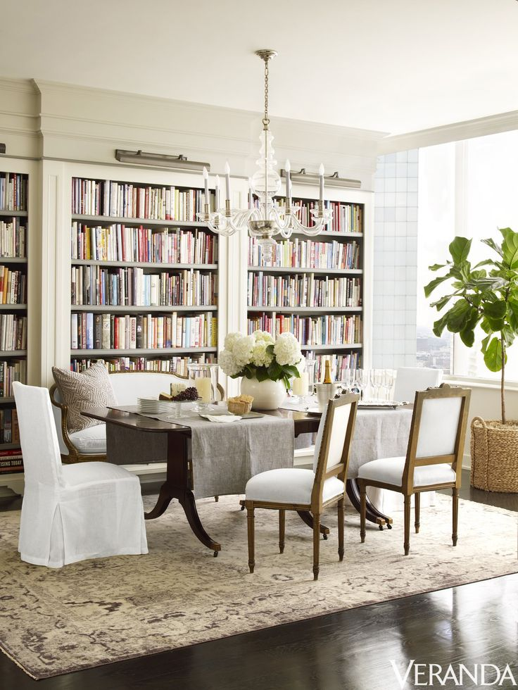 Bookcases Line A Wall In A Texas Penthouseu0027s Elegant Dining Room.