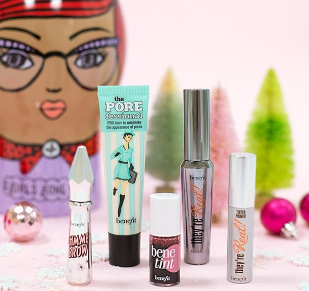 girls gone wow in a colourful winter scene. set includes: they're real! mascara | 8.5 g Net wt. 0.3 oz. • the POREfessional | 22.0 mL / 0.75 US fl. oz. • gimme brow in 03 medium | 3.0 g Net wt. 0.1 oz. • they're real! tinted primer mini | 3.0 g Net wt. 0.1 oz. • benetint mini | 4.0 mL / 0.13 US fl. oz.
