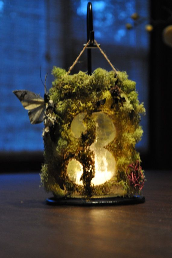 Hanging fantasy garden woodland wedding by DoorknobsnBroomstix, $25.00 sans butterfly, because those are gross