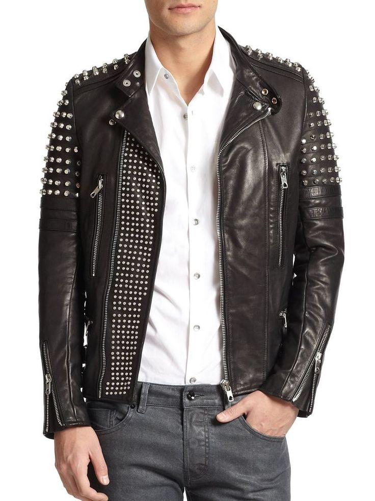 New Men's Black Genuine Lambskin Leather With Studded Motorcycle Jacket All Size #Handmade #Studded