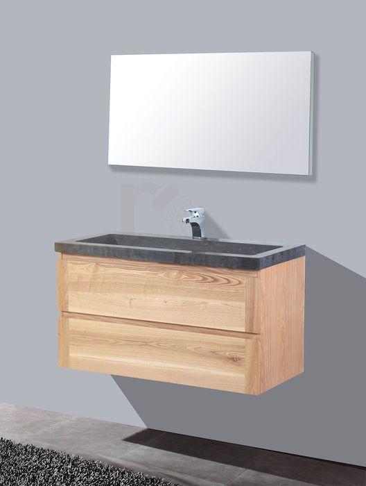 € 1.099,- Lambini Designs Wood Stone badmeubel - eiken - natuursteen - 0 kraangaten - 58cm (H) - 100cm (B) - 47cm (D) incl. spiegel #wood #stone #hardsteen #natuursteen #meubel #bathroom