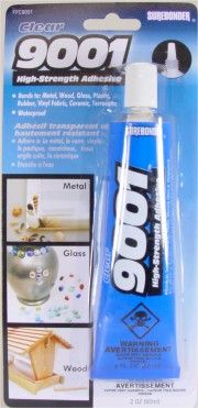 Just the BEST glue for glass. Love it. FPC-9001 Clear All-Purpose Adhesive. Super Thick, Quick Drying, Superior Bond. Bonds to: Florals, Glass, Ceramic, Magnets, Metal, Plastic, Wood, Jewelry, Vinyl. Net Weight: 2 ounces