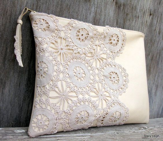 Leather and Lace Clutch Bag in Cream with Vintage Lace by Stacy Leigh Ready to Ship on Etsy, $88.95: