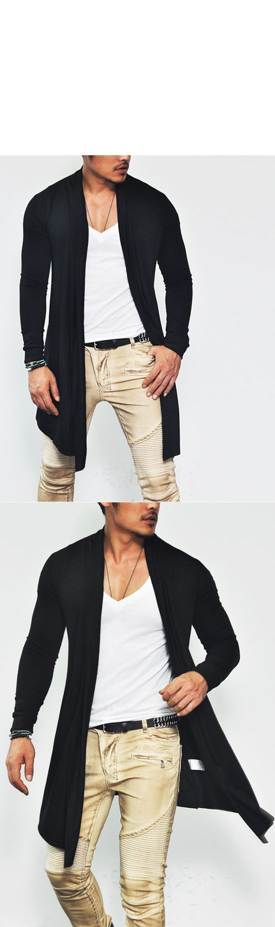 Outerwear :: Avant-garde Slim Open Shawl Long-Cardigan 45 - Mens Fashion Clothing For An Attractive Guy Look