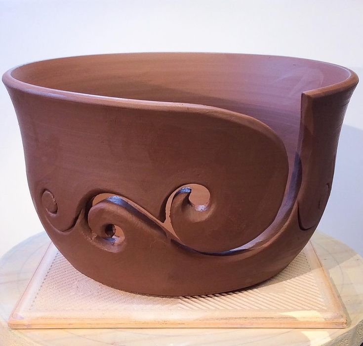 Yarn bowl in red terracotta. Unfired. earthwoolfire.etsy.com