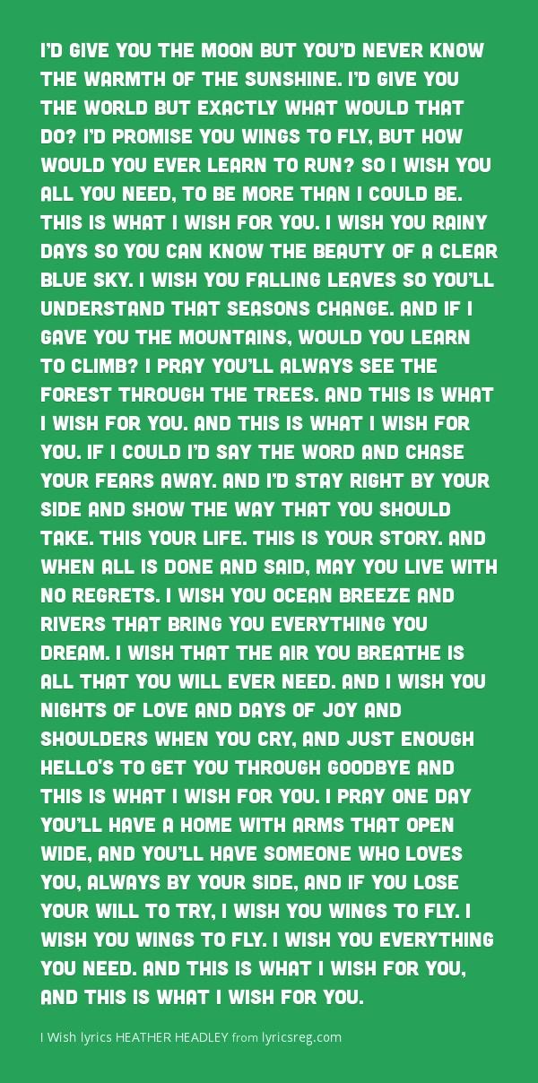 """""""I Wish"""" - By : Heather Headley"""