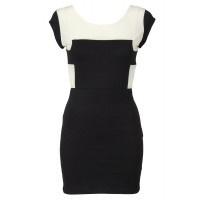 Only $79. Feel chic in this contrasting black and vanilla coloured dress.  A comfortable and stylish wear for either day or night with its mid cut back and sheer fabric.