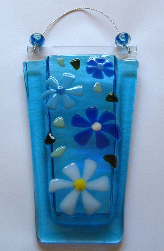 Fused Glass Wall Vase Glass Flower Vase Glass Wall by Shakufdesign