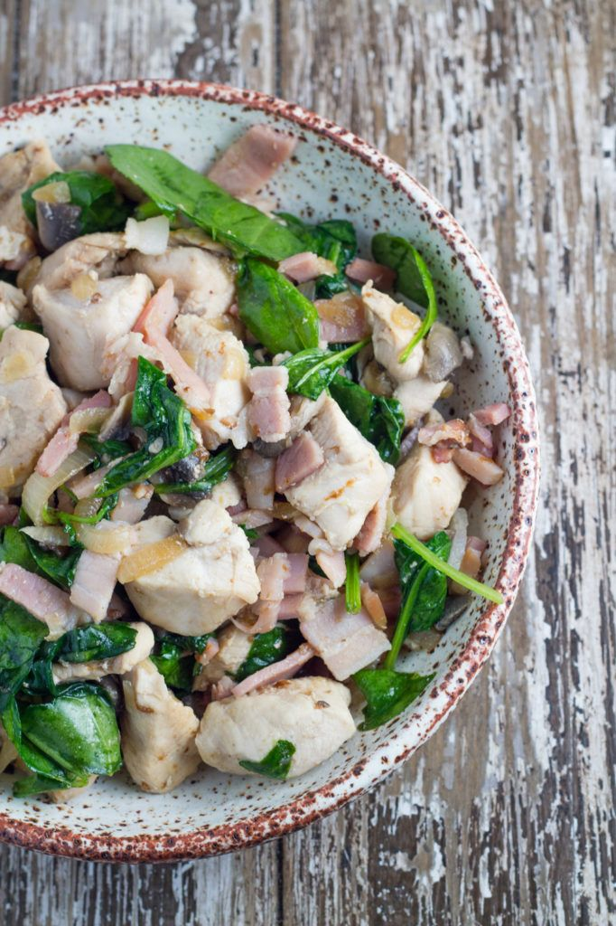 Warm Spinach Salad with Chicken, Bacon