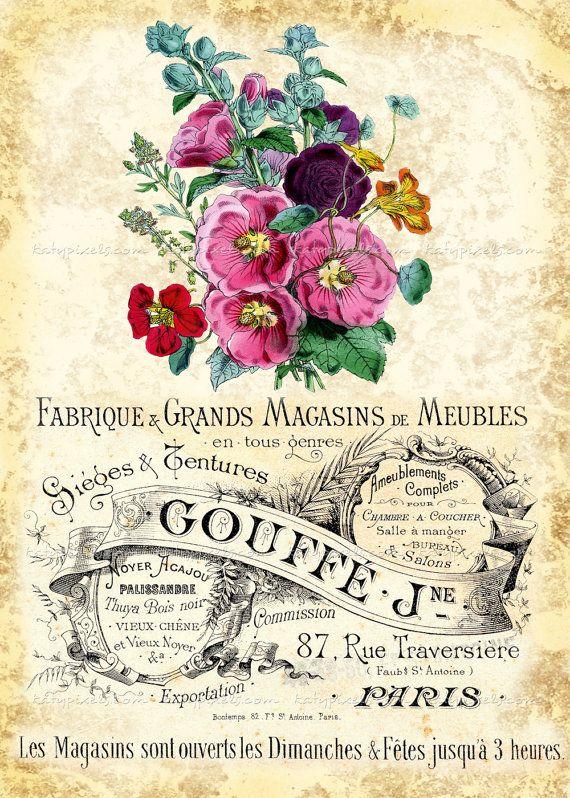 Digital Collage Sheet - Vintage French Ephemera - download & print