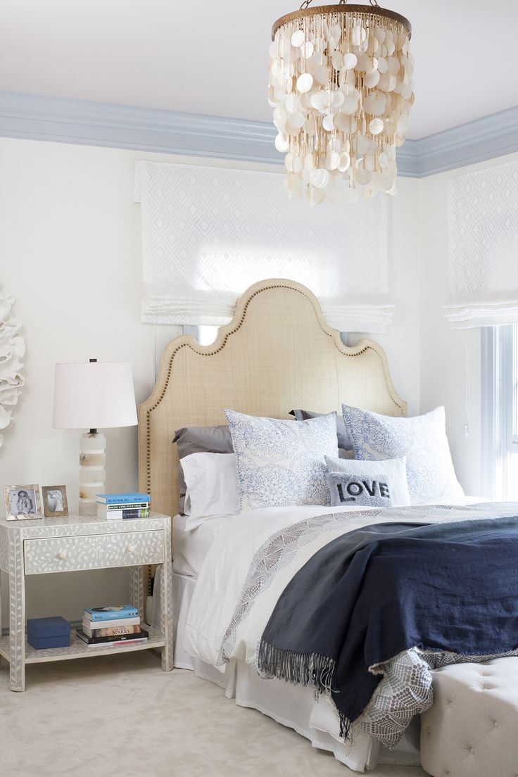 Dramatic yet serene teen bedroom with capiz shell chandelier. Design by Ella Scott Design. Come see the dramatic Before & After: Fussy Traditional to Urban Chic! #teenbedroom #serene #urbanchic #beachy #capiz #lightgrey #benjaminmooremoonlightwhite