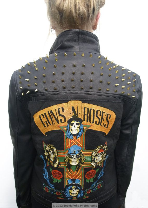Women's vintage rare Guns n Roses patched and studded metal leather jacket.