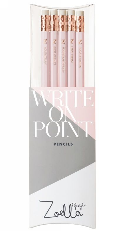 Set of 5 pink pencils from the Zoella Lifestyle collection at WHSmith