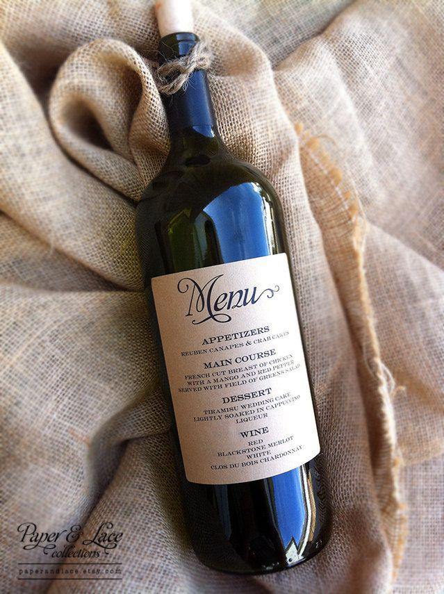 Wine Bottle Menu and Table Numbers. $39.00, via Etsy.
