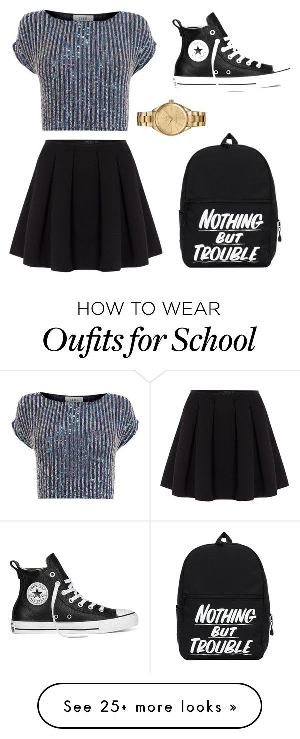 """Back To School Outfit Idea #1"" by gabrielleluy on Polyvore featuring Polo Ralph Lauren, Coast, Converse and Lacoste"