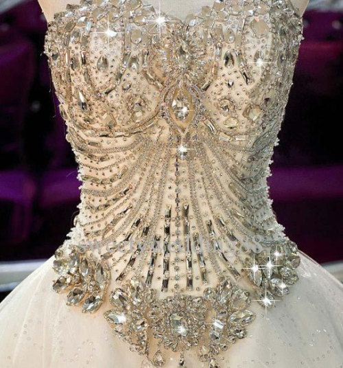 Jeweled Wedding Gowns: Super Luxury Sweetheart Cathedral Beaded Swarovski Crystal