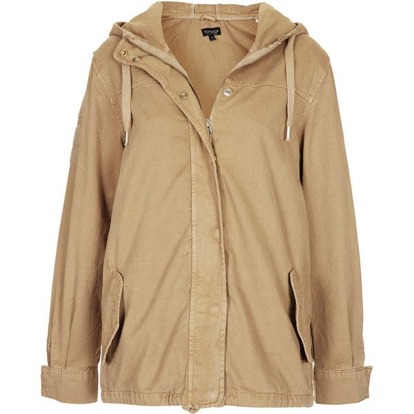 TOPSHOP Lightweight Short Parka Jacket ($46) ❤ liked on Polyvore featuring outerwear, jackets, coats, coats & jackets, sand, short parka, lightweight parka, brown cotton jacket, cotton jacket and topshop parka